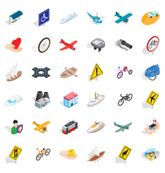 Road sign icons set isometric style vector