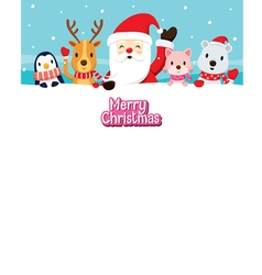 Santa Claus And Animals On Snow vector image vector image