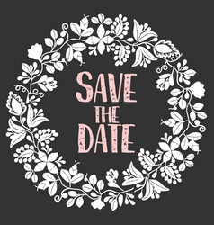 Save the date card with wreath vector