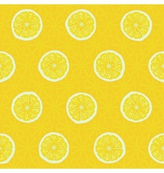 Seamless pattern slices of yellow lemons vector image vector image