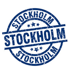 Stockholm blue round grunge stamp vector
