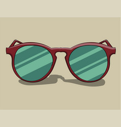 Sunglasses in a red frame lie on a pale beige vector