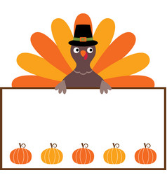 thanksgiving card with a turkey and a blank space vector image