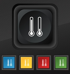 Thermometer temperature icon symbol set of five vector