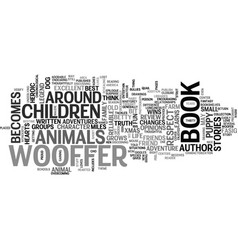 Wooffer children s book review text word cloud vector