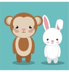 Cartoon animal monkey rabbit plush stuffed design vector