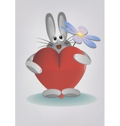 Bunny holding heart and flower vector