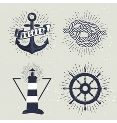 Set of retro nautical labels vector