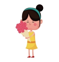 Girl happy closed eyes with bouquetflowers vector