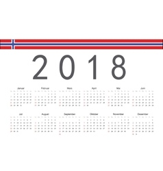 Norwegian 2018 year calendar vector image