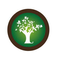 Decorative circular stamp with leafy tree plant vector