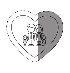 sticker of monochrome contour of heart with vector image