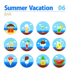 bar beach icon set summer vacation vector image