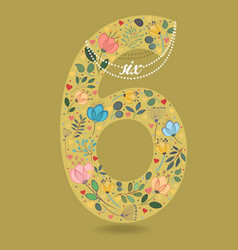 yellow number six with floral decor and necklace vector image