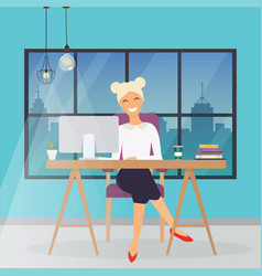Business woman working at his office desk flat vector