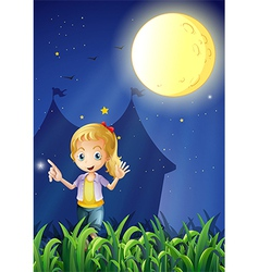 A girl under the bright fullmoon vector image