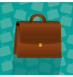 Briefcase on background pattern of turquoise brief vector