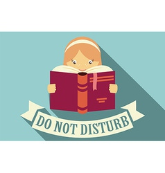 Girl reading a book do not disturb vector