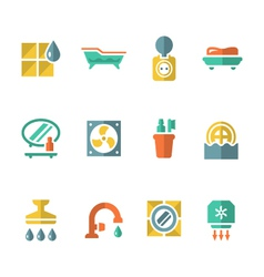 Set flat icons of bathroom vector