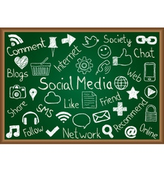 Social media icons and terms on chalkboard vector