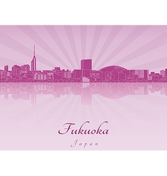 Fukuoka skyline in purple radiant orchid vector