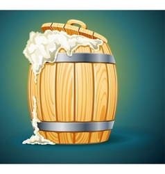 Wooden barrel full of beer vector