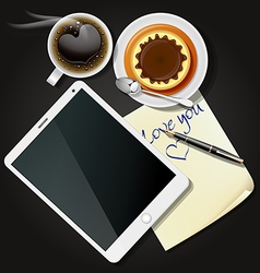 Tablet and note paper with coffee and pudding vector