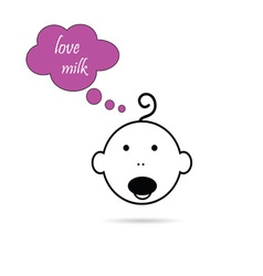 Baby head love milk vector