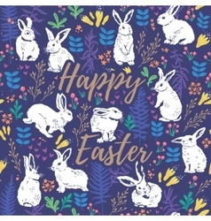 Happy Easter floral card with white rabbits vector image