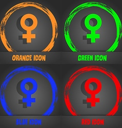 Female icon fashionable modern style in the orange vector