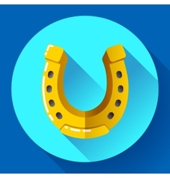 Golden horseshoe icon flat design style vector