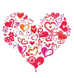big heart made of many differnt heart symbols vector image