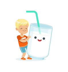 cute blonde little boy and funny milk glass with vector image