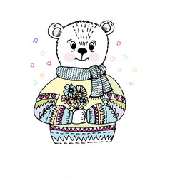 doodle bear in sweater vector image
