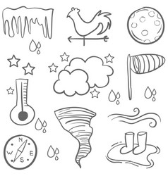 Doodle of weather with cloud wind vector