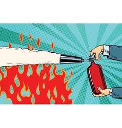 Extinguish the flames with a fire extinguisher vector