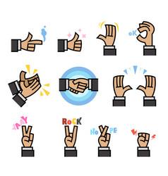 Flat cartoon hand gesture vector