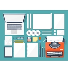 Flat typewriterlaptop tell vector