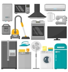Group of home appliances set vector image
