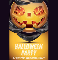 halloween pumpkin with fire flames on armor vector image vector image