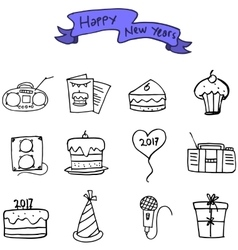 Hand draw of new year and christmas icons vector