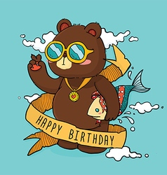 Hand drawn cool bear birthday greeting card vector