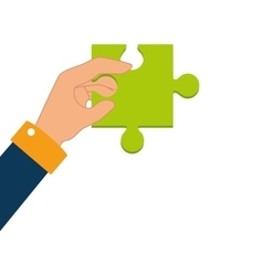 Hand human with puzzle piece vector