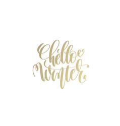 hello winter golden hand lettering winter holidays vector image