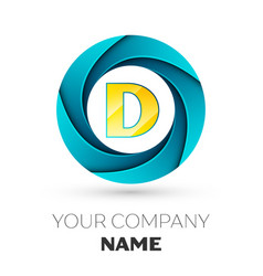 Letter d logo symbol in the colorful circle vector