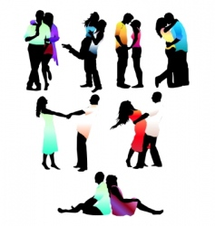 loving couple silhouettes vector image