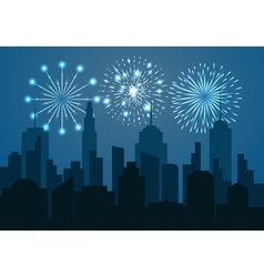 Night cityscape silhouette with festive fireworks vector
