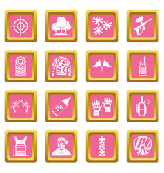 Paintball icons pink vector