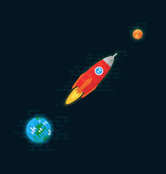 Rocket is flying from earth to the planet mercury vector