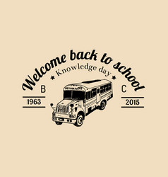 School bus logo vintage back to school vector
